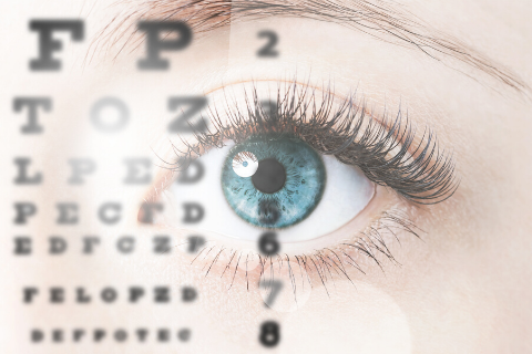 Eye chart placed in front of an eye.