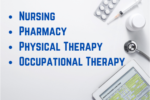 Medical Materials and nursing, pharmacy, physical therapy, and occupational therapy text.